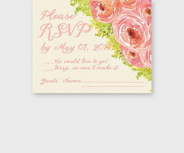 coral pink peonies rsvp cards