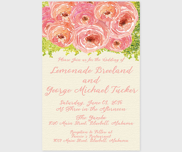 Coral Pink Peonies Wedding Invitations The Lemon The Roche Shop