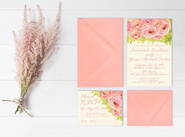 CORAL PINK PEONIES WEDDING INVITATIONS