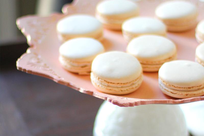 Bouchon Macarons on Peach Wedding Cake Stand