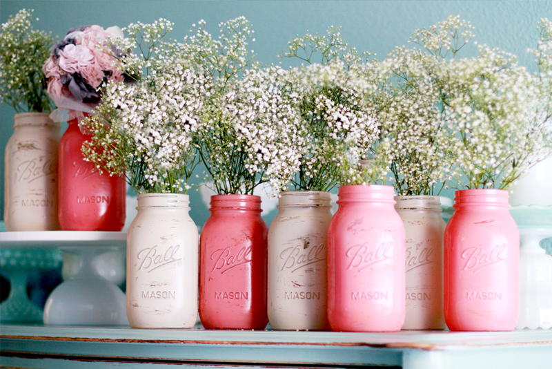 Coral Pink and Ballet Pink Distressed and Painted Mason Jars
