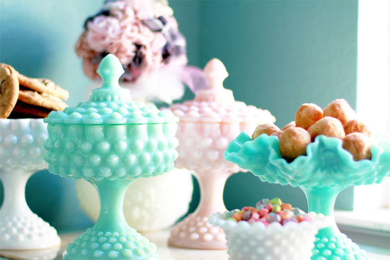 Dessert Table Buffet Display with vintage hobnail compotes