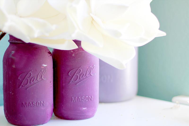 Painted and distressed mason jars