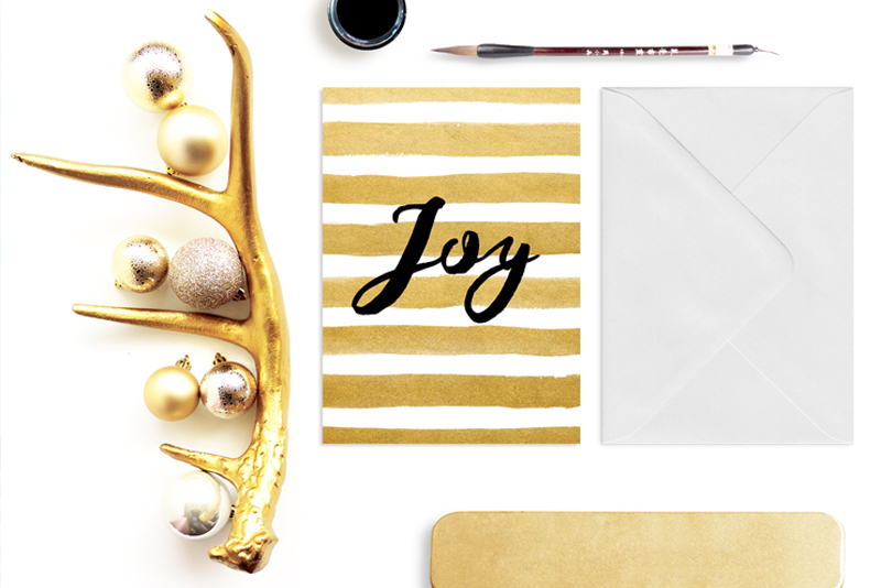The Deborah Christmas Card in watercolor striped gold brush and black calligraphy.