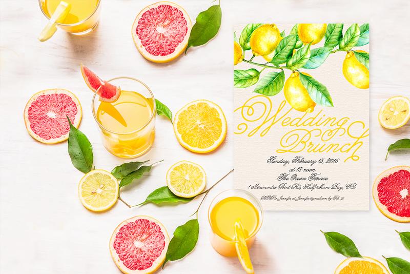 The Kris Wedding Brunch Invitation - Lemon Design