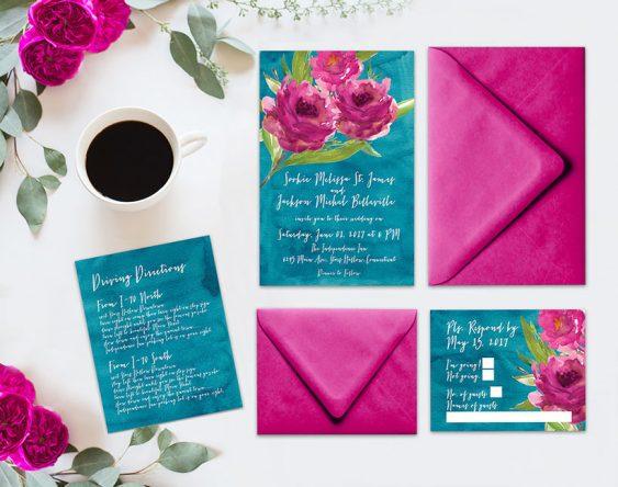 the roche shop wedding invitation set