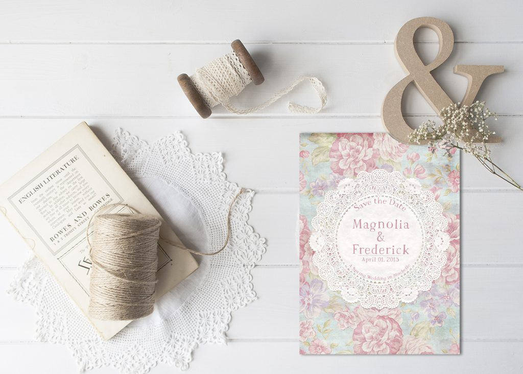 magnolia save the date card with doily