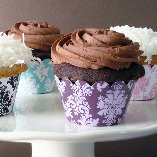 party supplies- cupcake wrappers and cupcake toppers