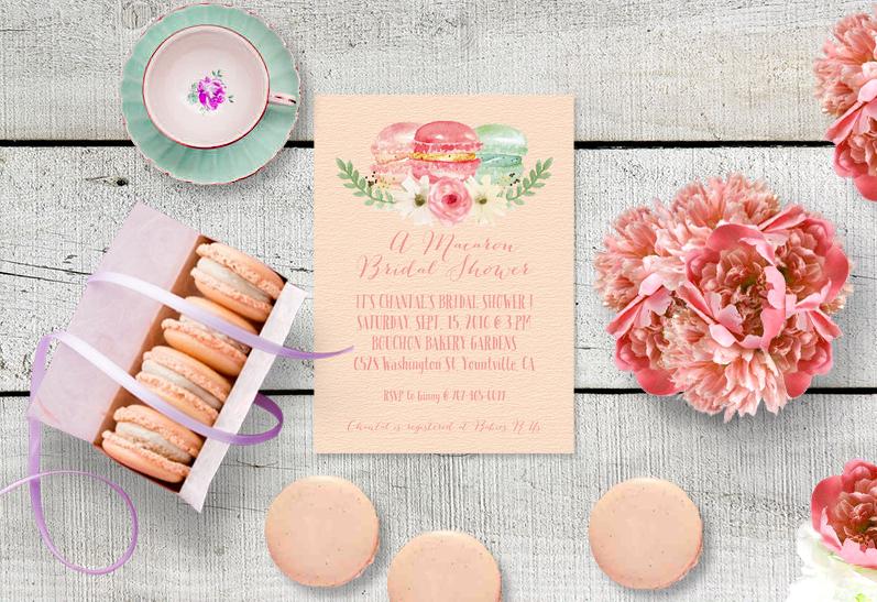 The Chantal Macaron Bridal Shower Invitation