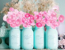 mason jars with blush pink ranunculus