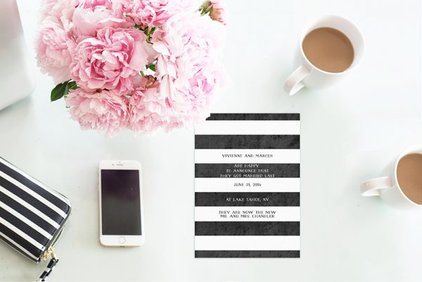 Black and White Stripes Wedding Announcement or Elopement Card