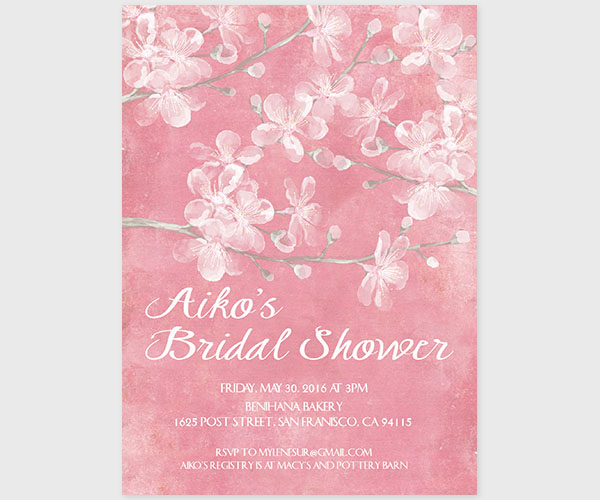 The Aiko - Pink Cherry Blossom Bridal Shower Invitations