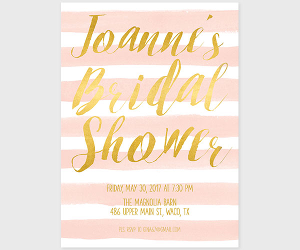 Gold and Blush Stripes Watercolor Bridal Shower Invitations