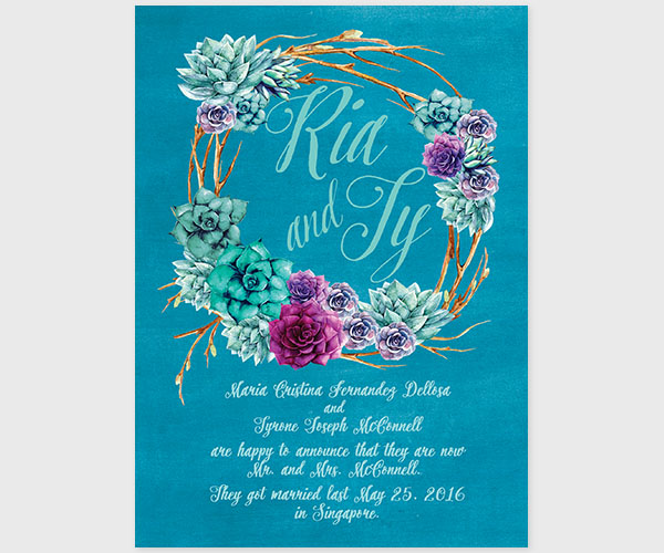 The Ria - Succulents Wedding Announcements