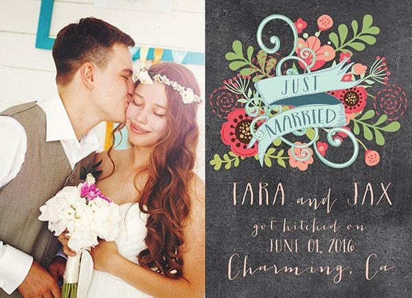 The Tara- Chalkboard Chic Floral Wedding Announcements
