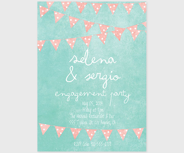The Selena - Mint & Coral Bunting Engagement Party Invitations