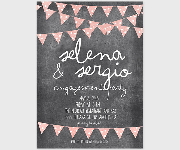 The Selena - Chalkboard Bunting Engagement Party Invitations