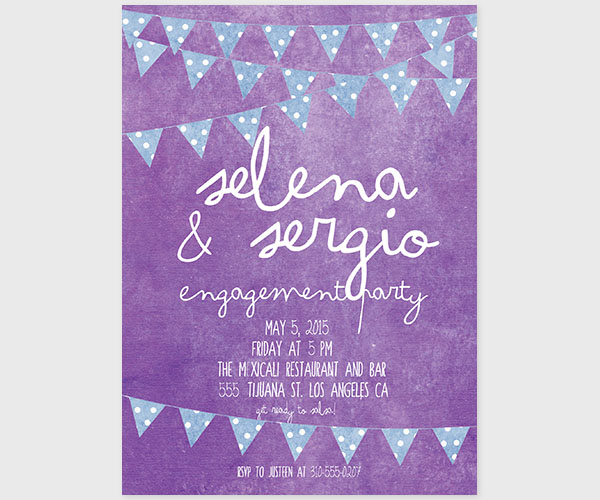 The Selena - Violet & Blue Bunting Engagement Party Invitations