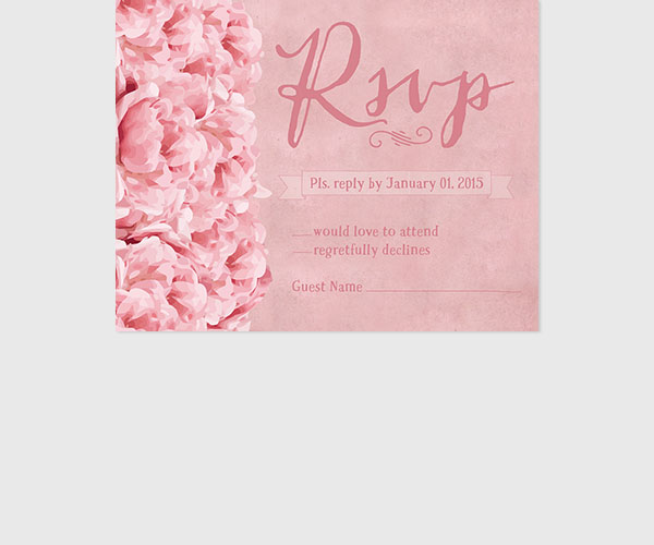 THE JESSIE - Shabby chic pink peonies rsvp cards