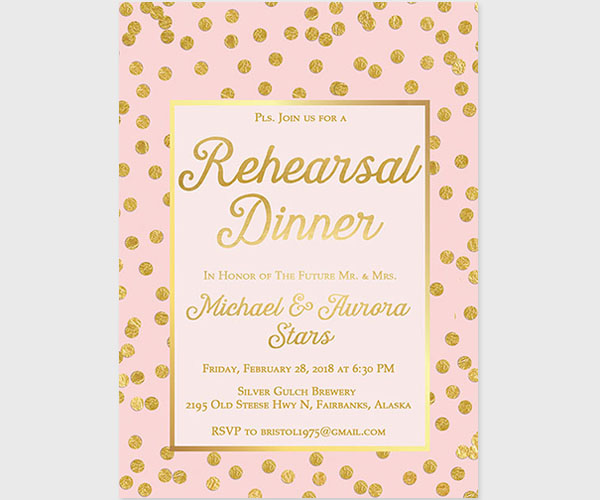 Rehearsal Dinner Invitations in Blush and Gold Dots