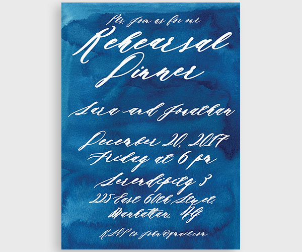 The Sara - Indigo Blue Watercolor Rehearsal Dinner Invitations