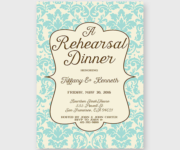 Tiffany Blue Damask Rehearsal Dinner Invitations