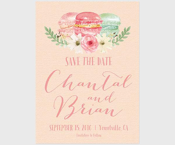 THE CHANTAL - Peach macaron save the date cards