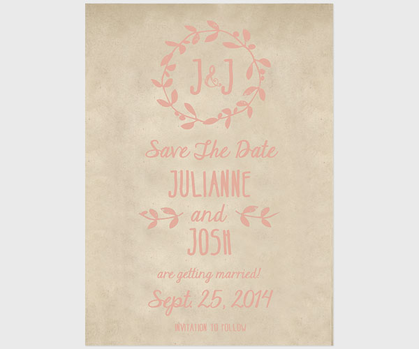 THE JULIANNE – Pink chevron and burlap save the date cards