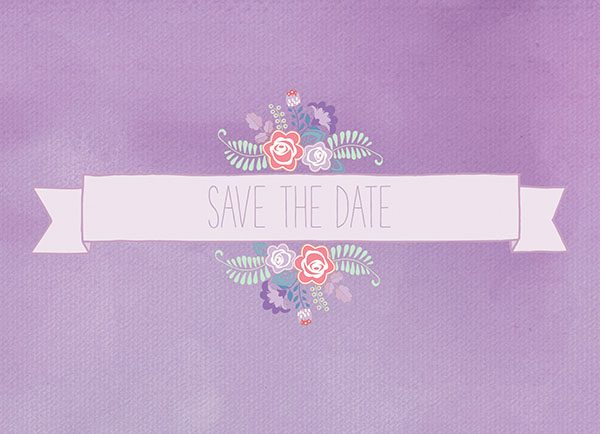 The Sybil - lavender floral banner save the date cards