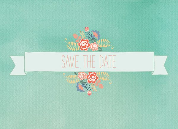 THE SYBIL - Mint Green Floral Banner Save The Date Cards
