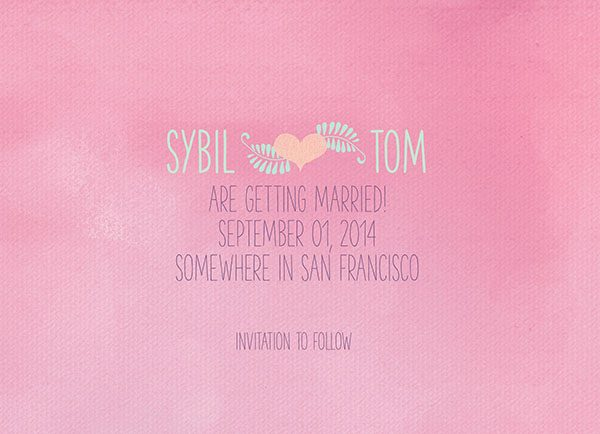 Pastel Pink watercolor Save The Date Cards