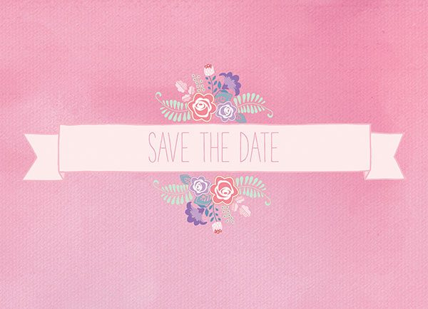 THE SYBIL - Pastel Pink Floral Banner Save The Date Cards