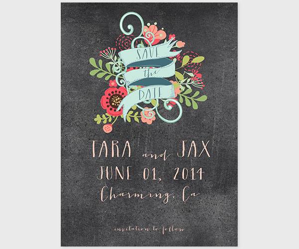 The Tara – Chalkboard Chic Wedding Announcement without photo