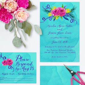 Love Wins Colorful Turquoise Wedding Invitations #LoveWins
