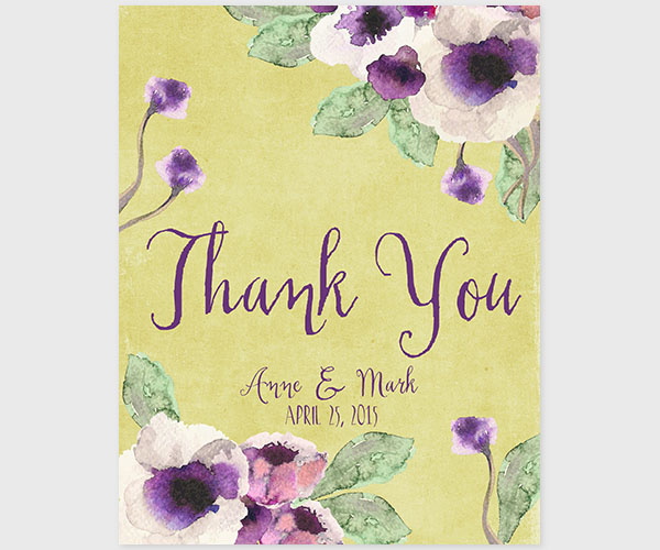 The Annie - Chartreuse Watercolor Anemone Thank You Cards