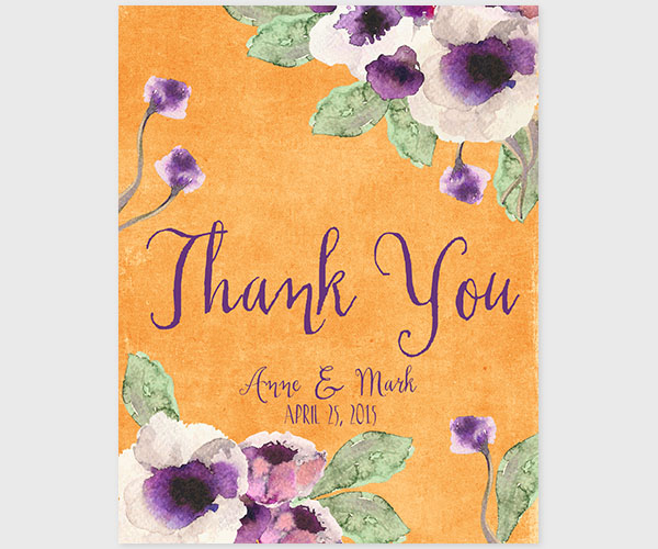 The Annie - Orange Watercolor Anemone Thank You Cards