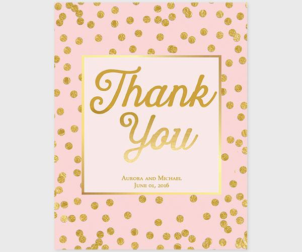 The Aurora - Blush & Gold Confetti Dots Thank You Cards