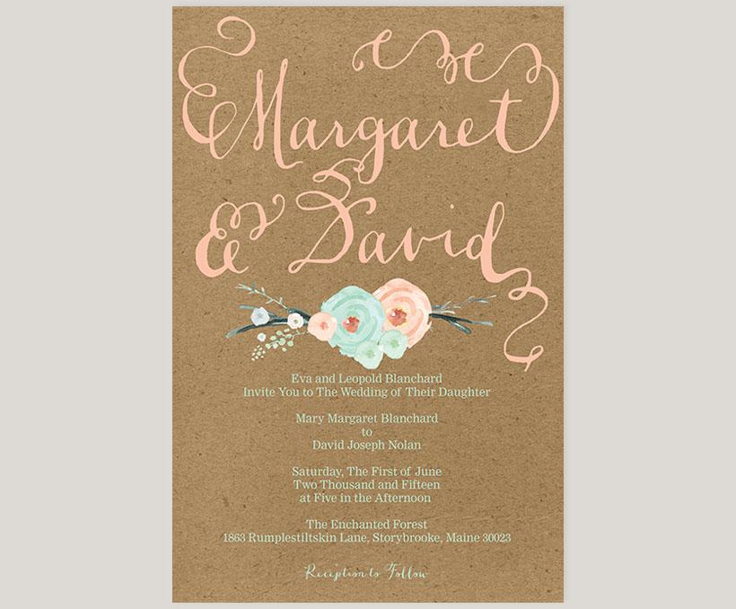 mint green & coral peach flowers kraft wedding invitations - The ...