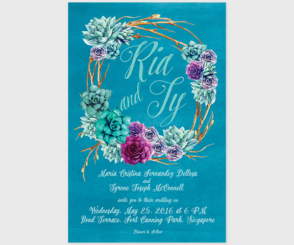 THE RIA - watercolor succulents wreath wedding invitations