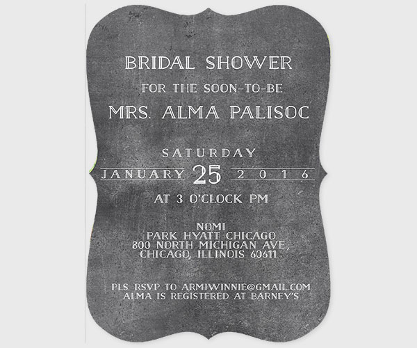 Chalkboard Bracket shaped Bridal Shower Invitations