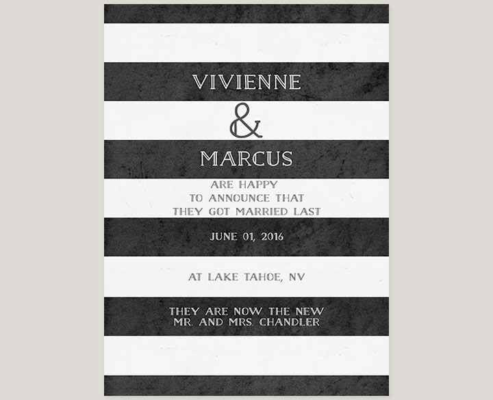 The Vivienne – Black and White Stripes Wedding Announcement or Elopement Card