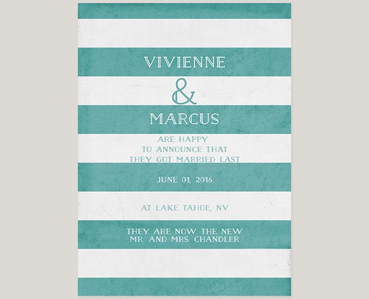 The Vivienne – Aqua Stripes Wedding Announcements