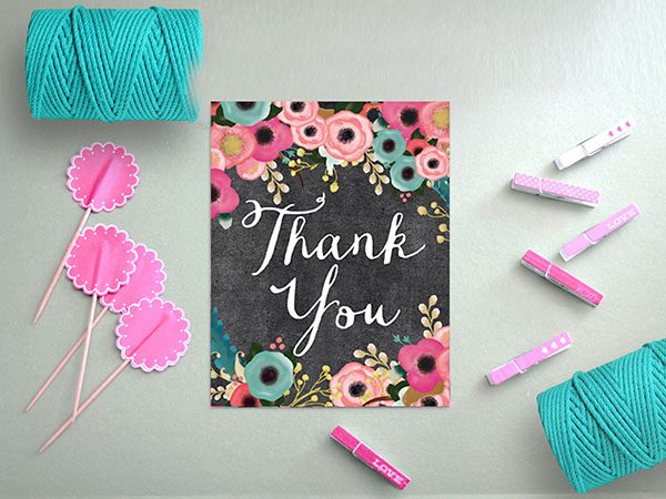 Spring Flowers Chalkboard Thank You Cards