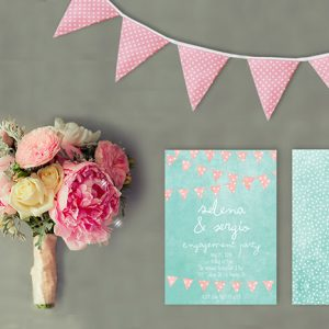 Mint & Coral Bunting Engagement Party Invitations