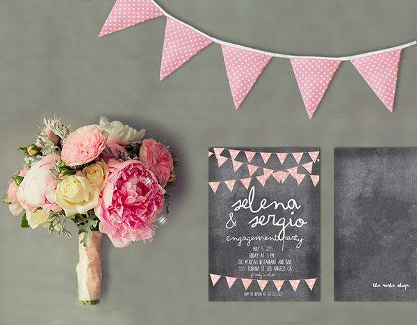 Chalkboard Bunting Engagement Party Invitations the selena the