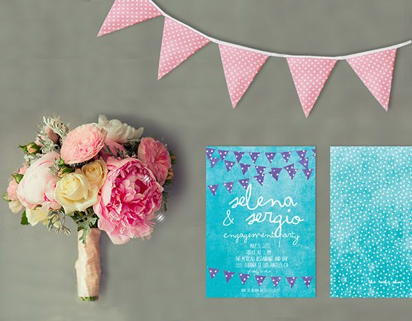 Turquoise & Purple Bunting Engagement Party Invitations