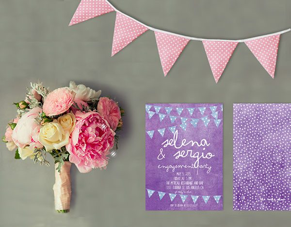 Bunting Engagement Party Invitations
