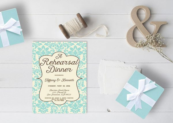 The Tiffany - Tiffany Blue Damask Rehearsal Dinner Invitations