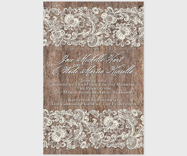 The Zoie 2 Lace and Wood Wedding Invitations