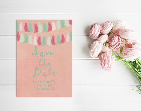 coral pink and mint tassel garland save the date card